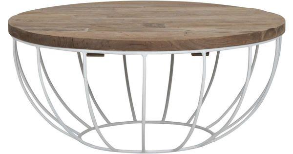 Couchtisch Madison 80 Cm Rund Metall Holz Korb Weiss Sofatisch Couchtisch Korb Wohnzimmertisch Holz Korb Tisch