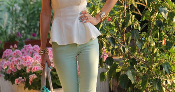 White peplum top & mint green pants with gold collar statement necklace