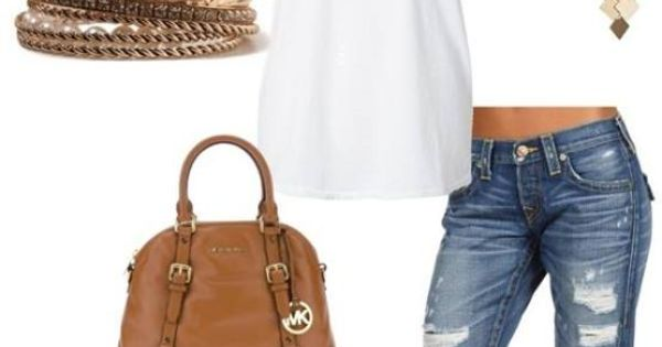 Boyfriend jeans, white tank/tee, brown bag & sandals, bracelets & necklace. Summer