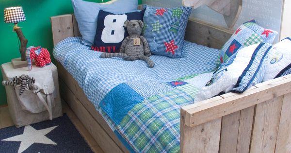 Bedbank steigerhout steigerhout pinterest kinderkamer slaapkamer en kinderkamers - Tienerjongen slaapkamer ...