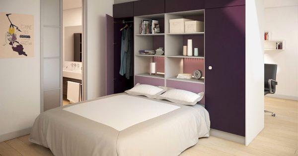 Pour optimiser l espace la t te de lit comprend une for Armoire de rangement pour salle de bain