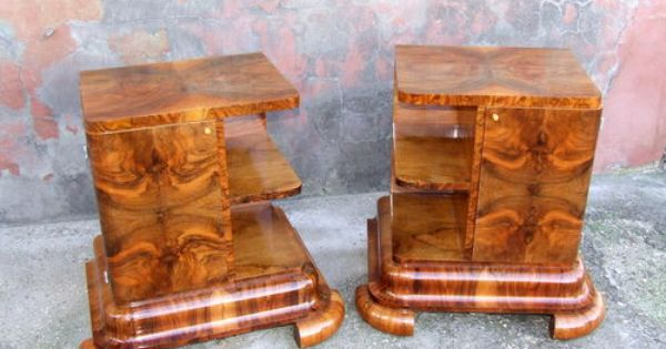 Bedside Cabinets Nightstands Pair Genuine 1920s Walnut