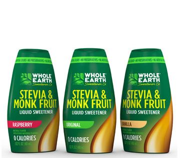 Whole Earth Sweetener Stevia Monk Fruit Blend Liquid Original Whole Earth Sweetener Soda Stream Recipes Flavor Drops Organic Agave Nectar