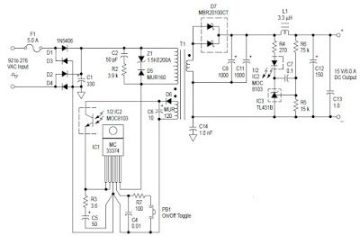 Switching Power Supply Using Mc33374 Circuit Diagram Diagrama De Circuito Circuito Circuitos