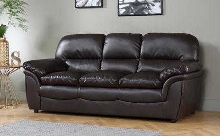 Rochester Dark Brown Leather 3 Seater Sofa | Black leather ...