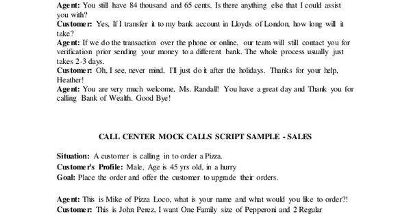 Call Center Mock Calls Script Sample Customer Service