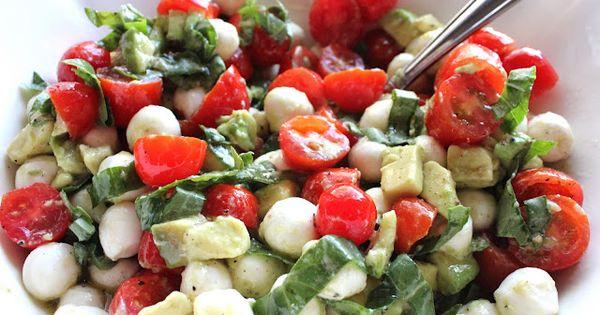 Tomato, basil avocado and mozzarella salad 1 container cherry tomatoes, cut in