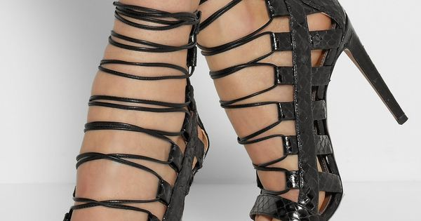 AquazzuraA�|A�Amazon lace-up elaphe sandalsA�|A�NET-A-PORTER.COM