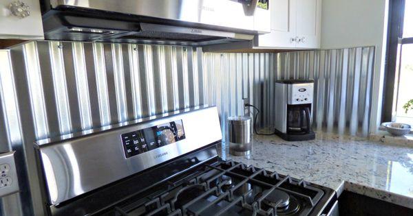 Corrugated metal backsplash | Kitchen Remodels | Pinterest