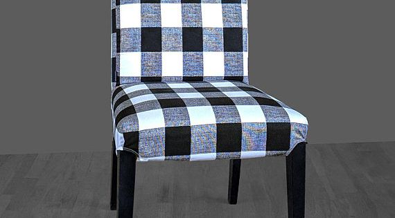 Plaid Buffalo Check Black White Ikea Henriksdal Dining Chair Cover Traditional Style Henriksdal Slipcover Ikea Dining Chair Dining Chairs Dining Chair Covers