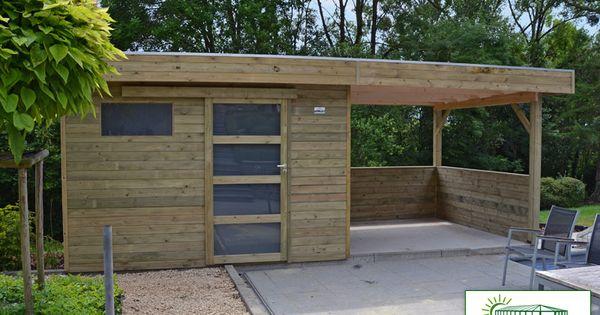 Shed plans abri de jardin a toit plat avec auvent for Abri jardin terrasse
