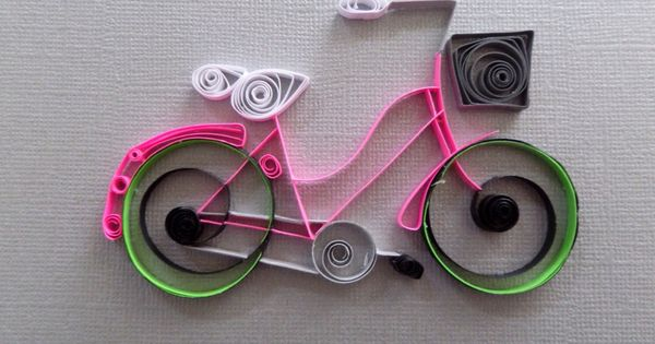 Quilled paper bicycle for home decor pink by for Quilling home decor