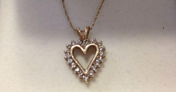10k Diamond Heart Necklace Kay Jewelry Nib New Boxed 10kt Gold Etsy Heart Necklace Diamond Heart Pendant Diamond Kay Jewelry