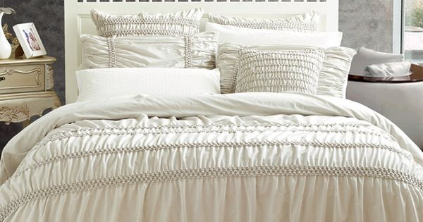 $279 Rosewater 6 pc Ruffled Comforter Bed Set