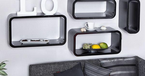 wandkubus zwart 4 set  Lounge wand- Kubus  Retro Design meubels ...