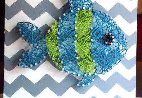 Fish string art nursery decor baby boy chevron by for Fish string art