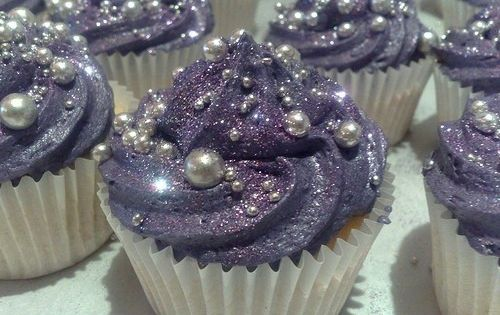 Bridal Shower - Purple Glitter Cupcakes w/ Edible Pearls