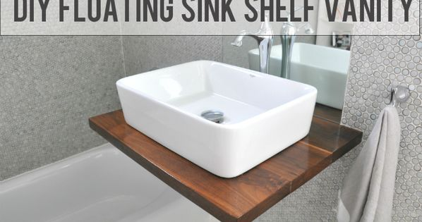 Diy Walnut Floating Shelf Sink Vanity House Updated Floating Sink Floating Bathroom Sink Bathroom Sink Diy