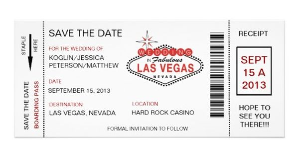 Las Vegas Wedding Invitation Wording: Revised Boarding Pass Save The Date Las Vegas Wedding