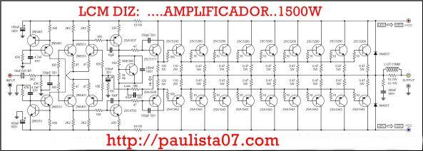 Amplificador 1500w Amplificador Amplificador De Audio Esquemas
