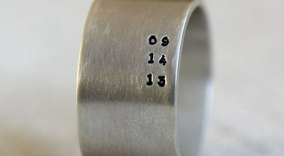 Personalize this wide band ring with a date, name of your anything
