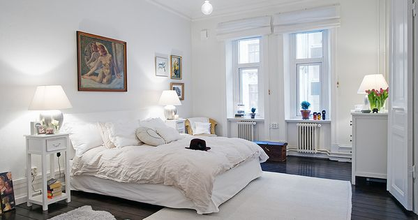 white rooms dark hardwood