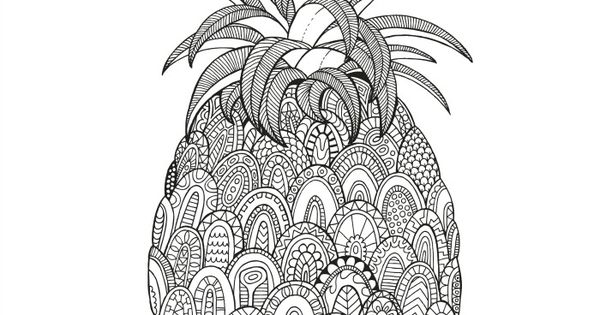 Color in the Pineapple Mosaics, Zentangle and Adult coloring