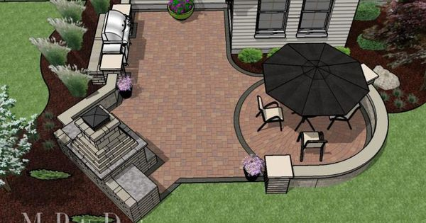 Small Outdoor Living Patio With Fireplace, Grill Space