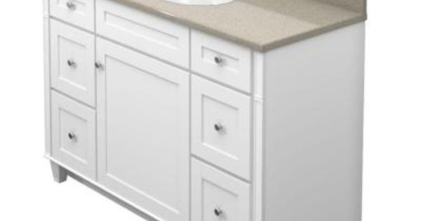 2221hd Kraftmaid 48 In Vanity In Dove White With Natural Quartz Vanity Top In Olive Ovation