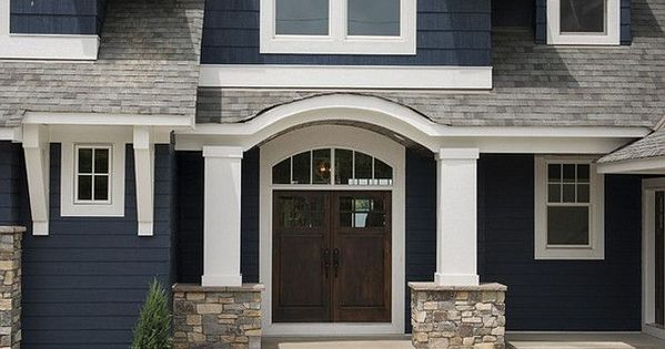 The Exterior Color Is Benjamin Moore Hale Navy The Stone Is From Hedberg In Golden Valley Mn