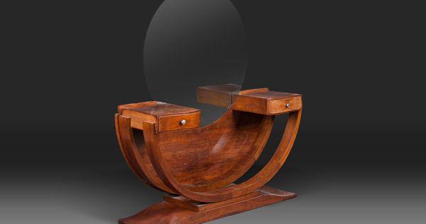 coiffeuse art d co coiffeuse en bois surmont d 39 un miroir rond corps en forme de demi cercle. Black Bedroom Furniture Sets. Home Design Ideas