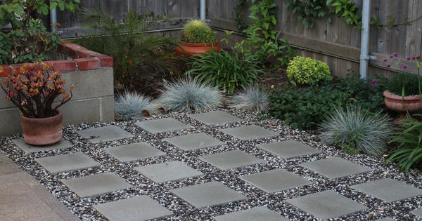 Patio Pavers with stone between - side yard ideas.