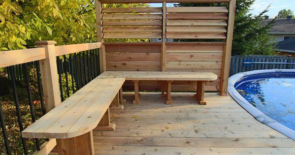 Banc de coin pour patio de piscine hors terre brunelle 3 for Cloture pour piscine hors terre