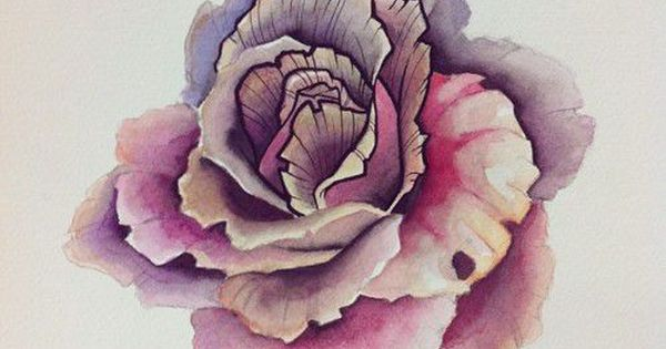 Watercolor rose tattoo idea