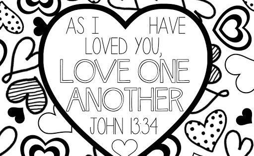 Scripture Coloring Page Love One Another Lds Lane Valentine