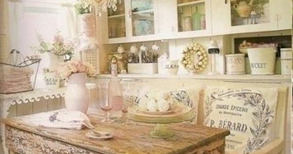 Shabby chic eat in kitchen with a rustic wood dinning table the shabby chic spot pinterest - Pinterest shabby chic kitchens ...