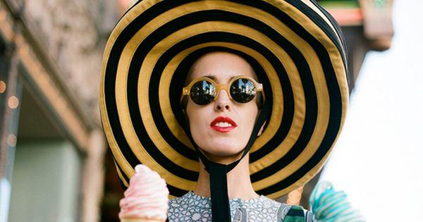 Prada hat & double ice cream cones.