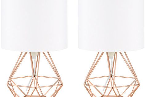 Pair Of Angus Cage Table Lamps Copper Black Copper Table Lamp Glamourous Bedroom Cage Table Lamp