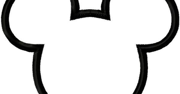 Mouse head silhouette applique by digitizingdolls disney pinterest