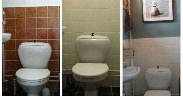 Tegels geverfd met tegelverf muur met krijtverf wat een verschil huis pinterest hus - Kleuren muur toilet ...