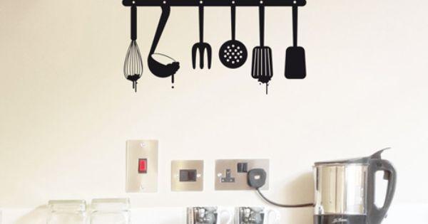 Vinilo para la cocina de utensilios colgados con la frase - Utensilios para pintar paredes ...