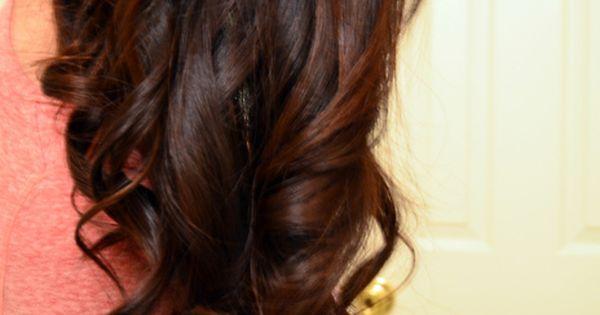 Ombré black to purple hair color long curls