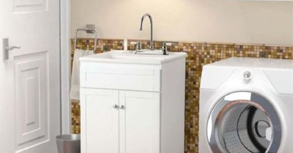 Sink And Washer All In One : All-in-One 24-1/4W Laundry Vanity with ABS Sink, White THE laundry ...