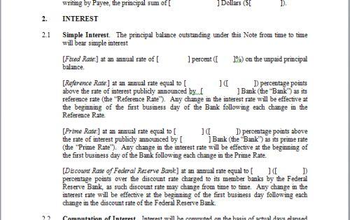 printable sample simple promissory note form