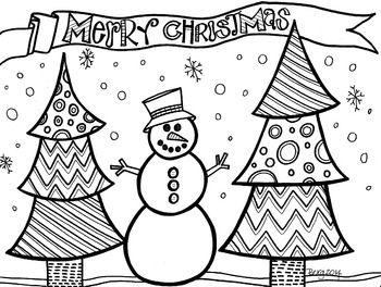 Fun Coloring Sheet Featuring Patterned Trees And A Cute Snowman Great Way To Ge Christmas Coloring Books Merry Christmas Coloring Pages Snowman Coloring Pages