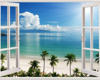 Beach Wall Decal 3d Window Tropical Coast Wall Decal For Living