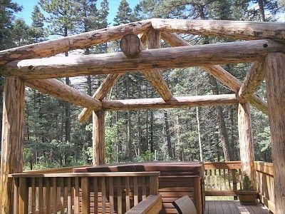Rustic Log Pergola Hot Tub Just Add Climbing Plants And