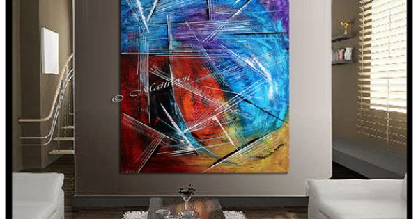 Red blue abstract abstract gallery pinterest abstracte acryl schilderijen abstracte kunst - Idee schilderij living ...