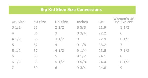 Chart to convert youth shoes into women