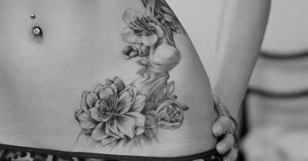 beautiful black and white flower tattoo